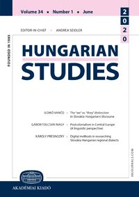 Cover Hungarian Studies