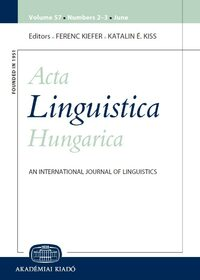 Cover Acta Linguistica Hungarica