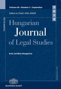 Cover Hungarian Journal of Legal Studies
